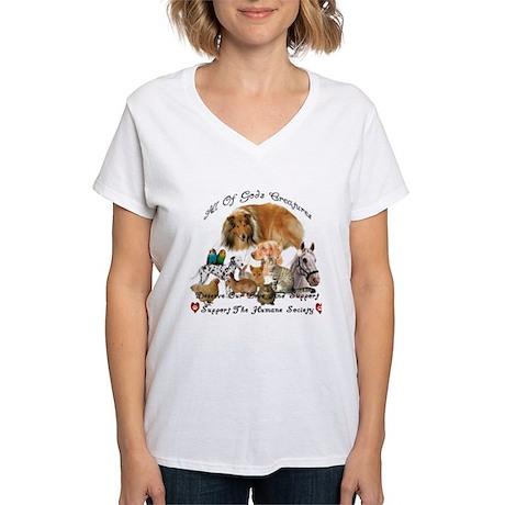 Humane Society Animal Support Women's V-Neck T-Sh