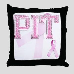 PIT initials, Pink Ribbon, Throw Pillow