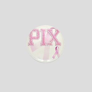 PIX initials, Pink Ribbon, Mini Button