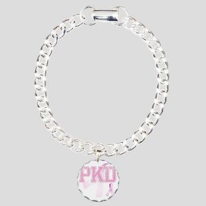 PKD initials, Pink Ribbo Charm Bracelet, One Charm