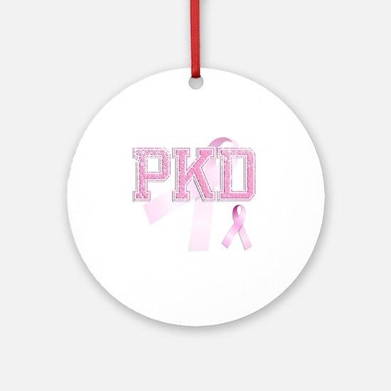 PKD initials, Pink Ribbon, Round Ornament