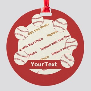 CUSTOMIZE Baseball Photo And Text Round Ornament