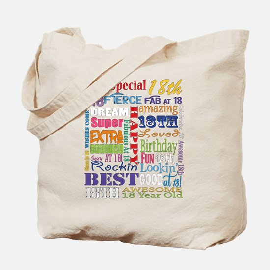 18th Birthday Typography Tote Bag