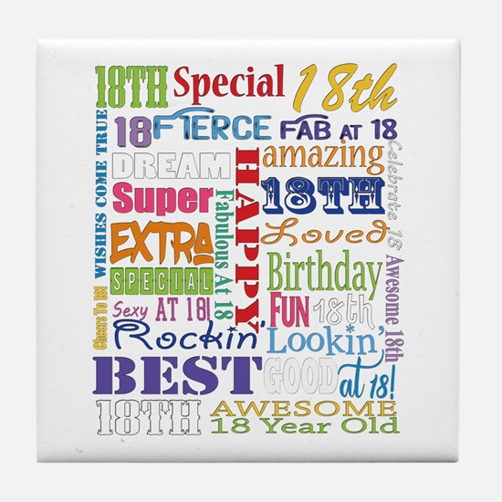 18th Birthday Typography Tile Coaster