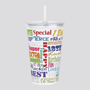 18th Birthday Typography Acrylic Double-wall Tumbl