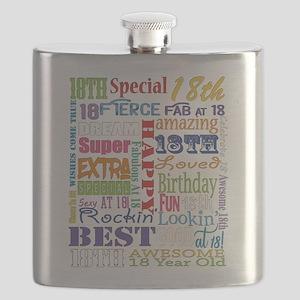 18th Birthday Typography Flask