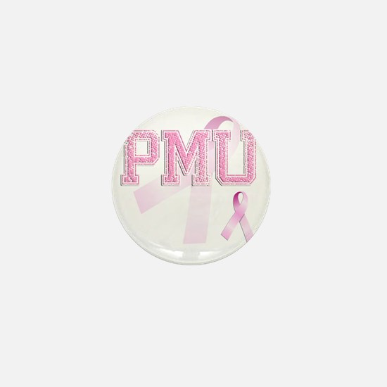 PMU initials, Pink Ribbon, Mini Button