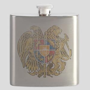 Armenia Coat of Arms wood Flask