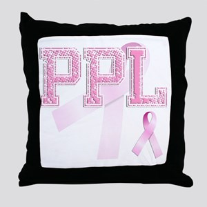 PPL initials, Pink Ribbon, Throw Pillow