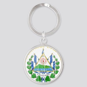 s El Salvador Coat of Arms wood Round Keychain