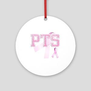 PTS initials, Pink Ribbon, Round Ornament