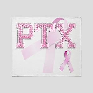 PTX initials, Pink Ribbon, Throw Blanket