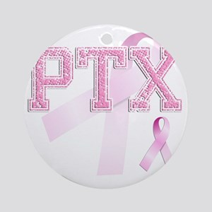 PTX initials, Pink Ribbon, Round Ornament