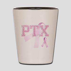 PTX initials, Pink Ribbon, Shot Glass
