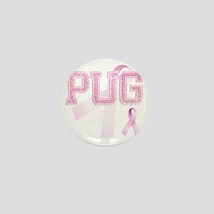 PUG initials, Pink Ribbon, Mini Button