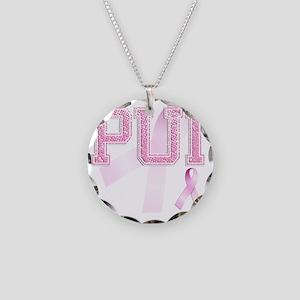 PUI initials, Pink Ribbon, Necklace Circle Charm