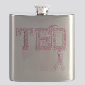 TEQ initials, Pink Ribbon, Flask