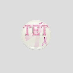 TET initials, Pink Ribbon, Mini Button