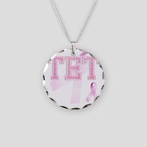 TET initials, Pink Ribbon, Necklace Circle Charm