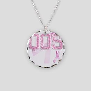 QOS initials, Pink Ribbon, Necklace Circle Charm