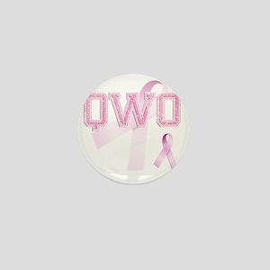 QWO initials, Pink Ribbon, Mini Button