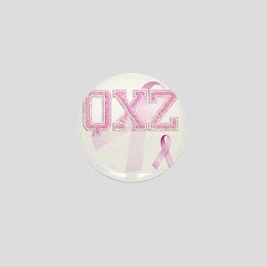 QXZ initials, Pink Ribbon, Mini Button