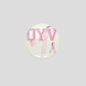 QYV initials, Pink Ribbon, Mini Button