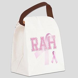 RAH initials, Pink Ribbon, Canvas Lunch Bag