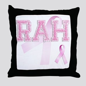 RAH initials, Pink Ribbon, Throw Pillow