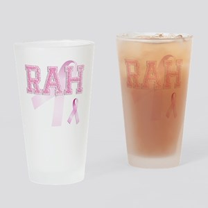 RAH initials, Pink Ribbon, Drinking Glass