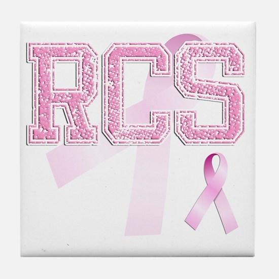 RCS initials, Pink Ribbon, Tile Coaster