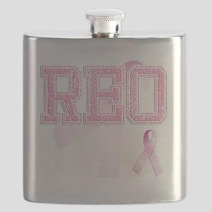 REO initials, Pink Ribbon, Flask