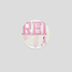 REI initials, Pink Ribbon, Mini Button