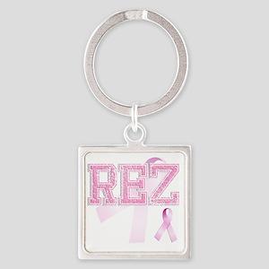 REZ initials, Pink Ribbon, Square Keychain