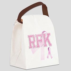 RFK initials, Pink Ribbon, Canvas Lunch Bag