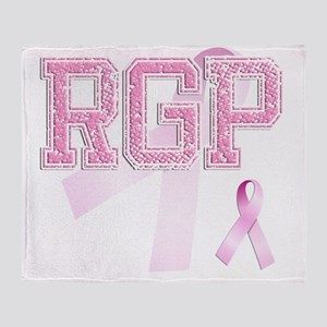 RGP initials, Pink Ribbon, Throw Blanket