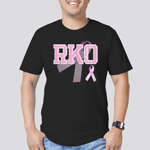 RKO initials, Pink Rib Men's Fitted T-Shirt (dark)