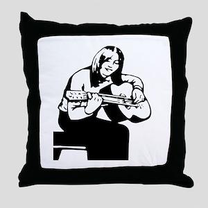 Girl Playing Guitar Throw Pillow