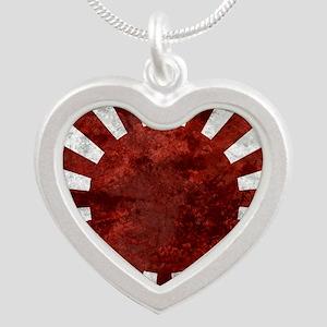 Japanes Land Rising Sun Squa Silver Heart Necklace