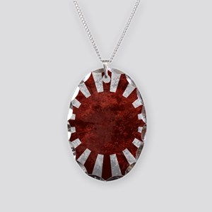 Japanes Land Rising Sun Square Necklace Oval Charm