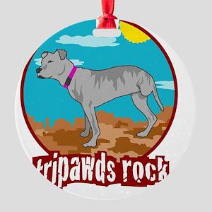 Tripawd Pitbull Rear Leg Blanket Round Ornament