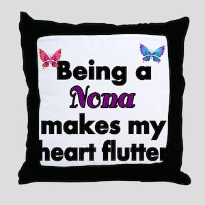 Being a Nona makes my Heart Flutter Throw Pillow