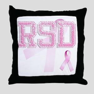RSD initials, Pink Ribbon, Throw Pillow