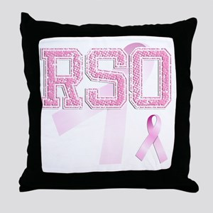 RSO initials, Pink Ribbon, Throw Pillow