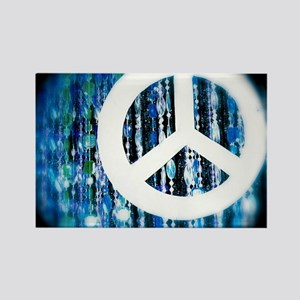 Beads peace sign blue and green Rectangle Magnet