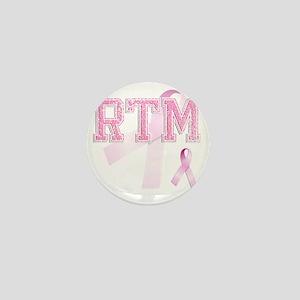 RTM initials, Pink Ribbon, Mini Button