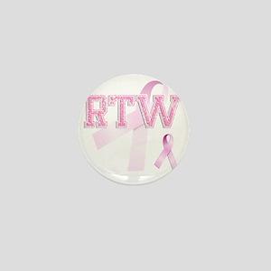 RTW initials, Pink Ribbon, Mini Button