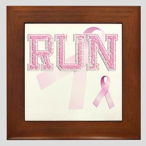 RUN initials, Pink Ribbon, Framed Tile