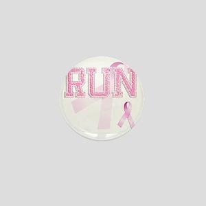 RUN initials, Pink Ribbon, Mini Button