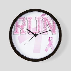RUN initials, Pink Ribbon, Wall Clock